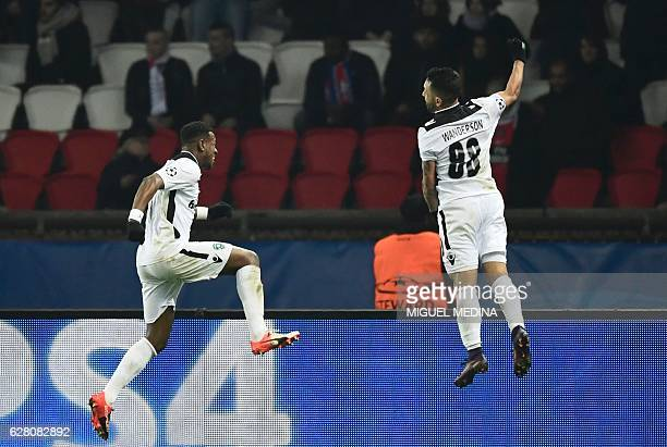 Ludogorets' Brazilian forward Wanderson celebrates after scoring a goal during the UEFA Champions League Group A football match between Paris...