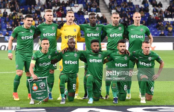 Ludogorets line up during the UEFA Europa League group H match between Espanyol Barcelona and PFC Ludogorets Razgrad at the RCDE Stadium on November...