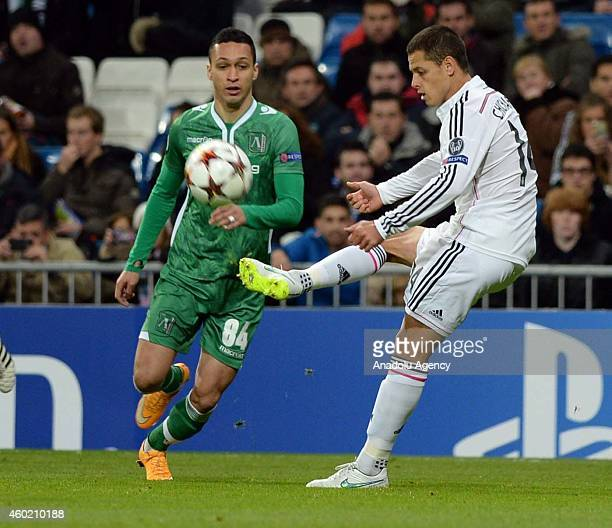 Ludogorets' midfielder Marcelinho vies with Real Madrid's forward Chicharito during the UEFA Champions League Group B football match between Real...