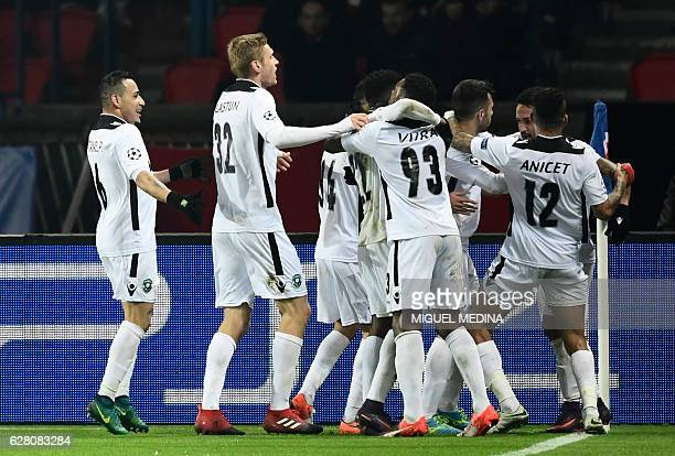 Ludogorets' players celebrate after scoring a goal during the UEFA Champions League Group A football match between Paris SaintGermain and PCF...