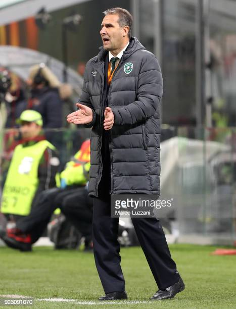 Ludogorets Razgrad coach Dimitar Dimitrov issues instructions to his players during UEFA Europa League Round of 32 match between AC Milan and...