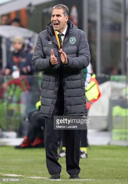 Ludogorets Razgrad coach Dimitar Dimitrov shouts to his players during UEFA Europa League Round of 32 match between AC Milan and Ludogorets Razgrad...