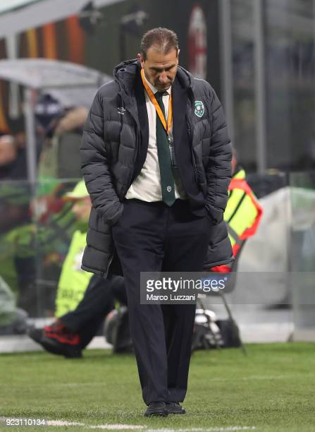 Ludogorets Razgrad coach Dimitar Dimitrov shows his dejection during UEFA Europa League Round of 32 match between AC Milan and Ludogorets Razgrad at...