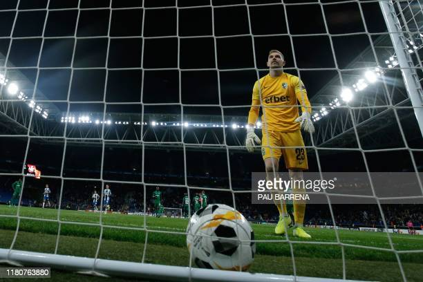 Ludogorets Razgrad's Bulgarian goalkeeper Plamen Iliev reacts after a goal scored by Espanyol's Argentinian midfielder Matias Vargas during the UEFA...