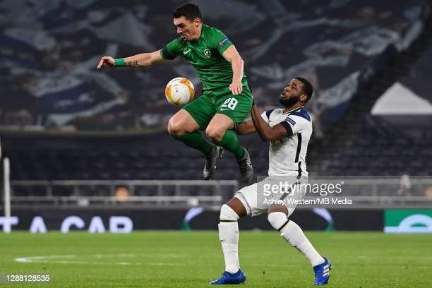 Ludogorets Razgrad's Claudiu Keseru holds off the challenge from Tottenham Hotspur's Japhet Tanganga during the UEFA Europa League Group J stage...