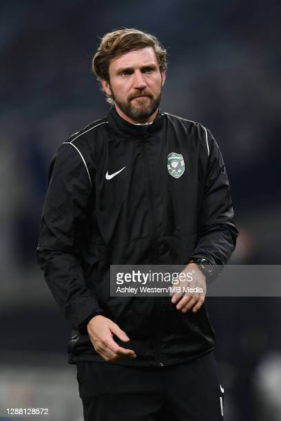 Ludogorets Razgrad's conditioning coach Ian Coll during the prematch warmup before the UEFA Europa League Group J stage match between Tottenham...