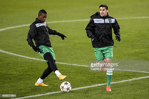 Ludogorets Razgrad's midfielder from Madagascar Anicet Abel and teammate midfielder from Spain Dani Abalo attend a training on the eve of the UEFA...
