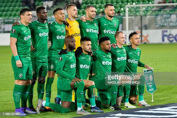 Ludogorets Razgrad's players pose for a team group photo before during the UEFA Europa League Group H football match between PFC Ludogorets 1945 and...