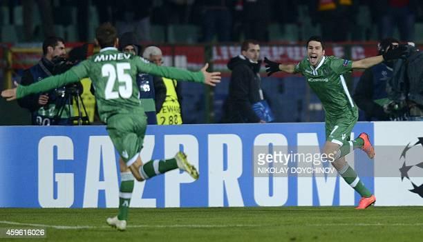 Ludogorets Razgrad's Spanish midfielder Dani Abalo celebrates on November 26, 2014 after scoring during a UEFA Champions League Group B match between...
