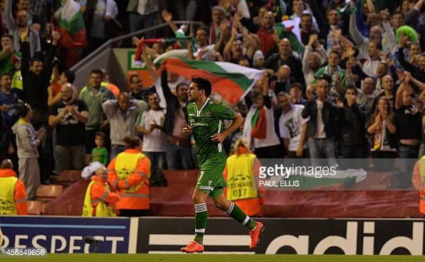 Ludogorets Razgrad's Spanish midfielder Dani Abalo celebrates scoring a goal during the UEFA Champions League Group B match between Liverpool and...