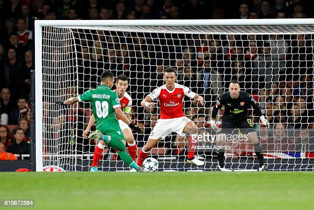 Ludogorets Razgrad's Wanderson vies with Arsenals David Ospina during Champions League Group A match between Arsenal FC and Ludogorets Razgrad at...