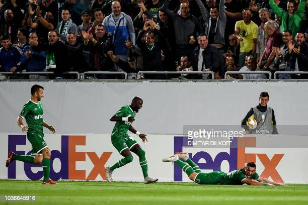 Ludogorets' Romania's forward Claudiu Keseru celebrates after scoring a goal during the UEFA Europa League Group A football match between Ludogorets...