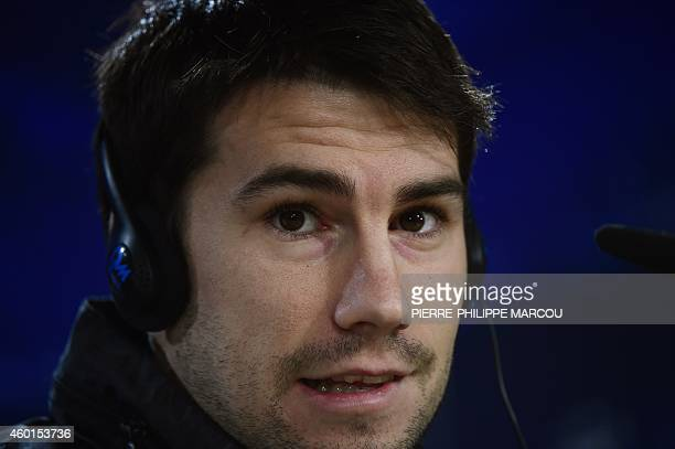 Ludogorets' Spanish midfielder Dani Abalo gestures during a press conference at the Santiago Bernabeu stadium in Madrid on December 8, 2014 on the...