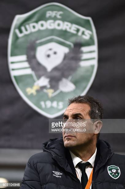 Ludogorets's coach Dimitar Dimitrov from Bulgaria looks on during the UEFA Europa League round of 32 secondleg football match AC Milan Vs Ludogorets...