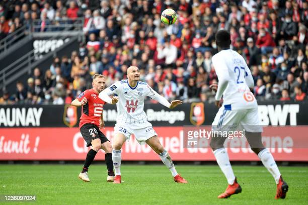 Ludovic AJORQUE during the Ligue 1 Uber Eats match between Rennes and Strasbourg at Roazhon Park on October 24, 2021 in Rennes, France.