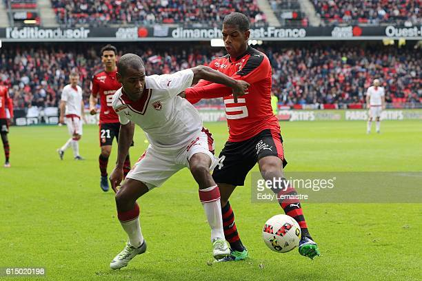 Ludovic Baal of Rennes and Diego Rolan of Bordeaux during the Ligue 1 match between Stade Rennais and FC Girondins de Bordeaux at Roazhon Park on...