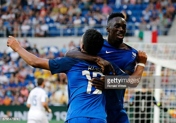 Ludovic Blas of France celebrates after scoring his team's second goal with his teammates JeanKevin Augustin during the UEFA Under19 European...
