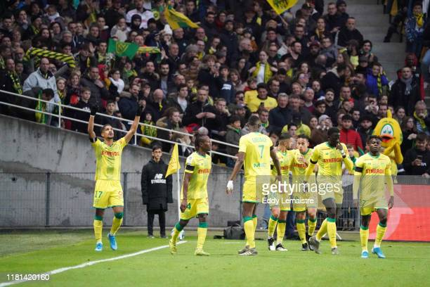 Ludovic BLAS of Nantes celebrates after scoring a goal during the Ligue 1 match between Nantes and Saint Etienne at Stade de la Beaujoire on November...