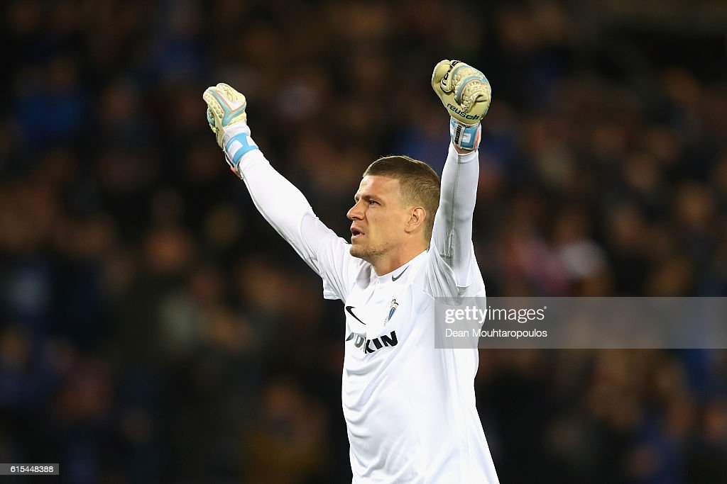 Ludovic Butelle of Club Brugge celebrates his team's first goal during the UEFA Champions League Group G match between Club Brugge KV and FC Porto at Jan Breydel Stadium on October 18, 2016 in Bruges, Belgium.