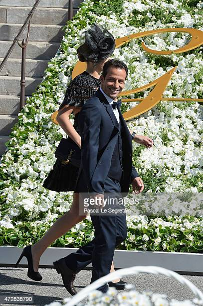 Ludovic Giuly and his wife attend The Baptism Of The Princely Children at The Monaco Cathedral on May 10 2015 in Monaco Monaco