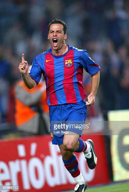 Ludovic Giuly of Barcelona celebrates his goal during the La Liga match between FC Barcelona and Villarreal on May 22 2005 at Camp Nou stadium in...