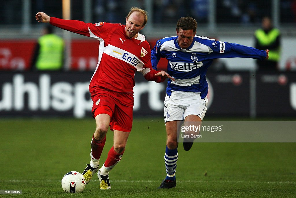 Ludovic Magnin of Stuttgart in action with Silvio Schroeter of Duisburg during the Bundesliga match between MSV Duisburg and VfB Stuttgart at the MSV Arena on February 16, 2008 in Duisburg, Germany.