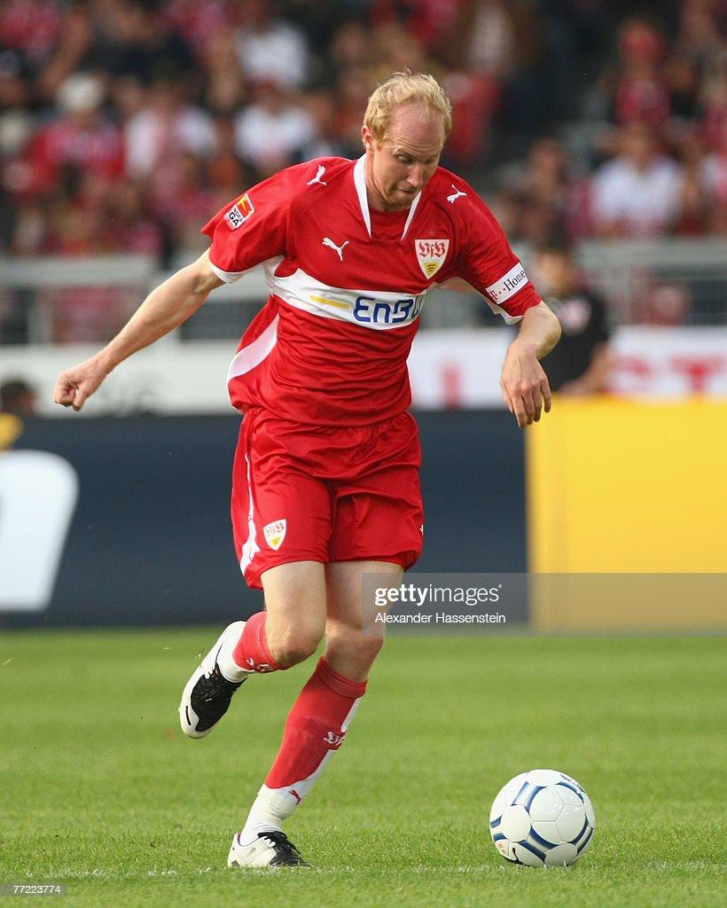 Ludovic Magnin of Stuttgart runs with the ball during the Bundesliga match between VfB Stuttgart and Hannover 96 at the Gottlieb-Daimler-Stadium on October 06, 2007 in Stuttgart, Germany.
