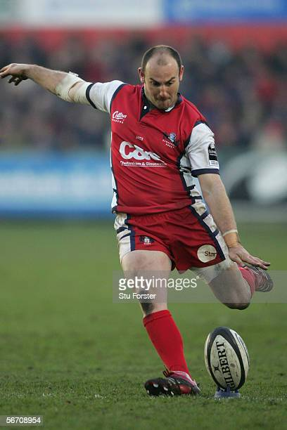 Ludovic Mercier of Gloucester kicks a penalty during the Guinness Premiership match between Gloucester and London Irish on January 28, 2006 at...