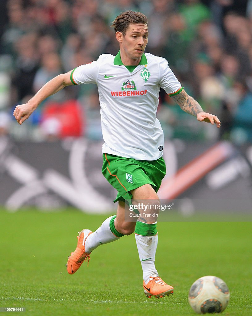 Ludovic Obraniak of Bremen in action during the Bundesliga match between Werder Bremen and Borussia Moenchengladbach at Weserstadion on February 15, 2014 in Bremen, Germany.