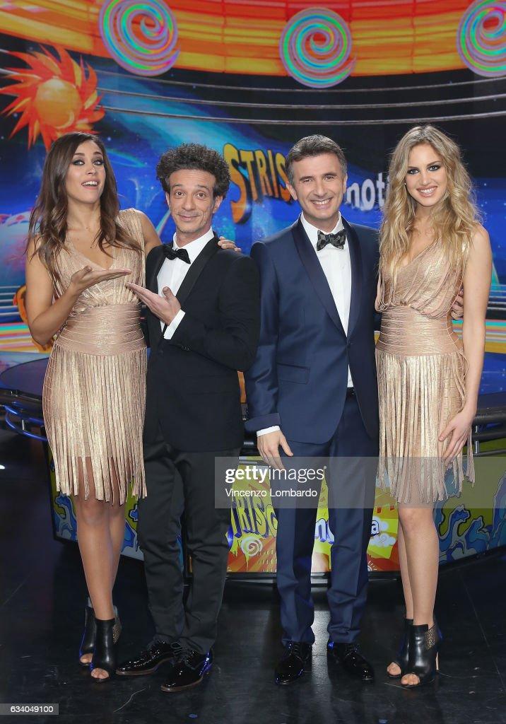 Ludovica Frasca, Ficarra, Picone and Irene Cioni attend the 'Striscia La Notizia' Tv Show on February 6, 2017 in Milan, Italy.