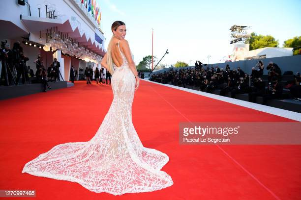 """Ludovica Pagani walks the red carpet ahead of the movie """"The World To Come"""" at the 77th Venice Film Festival on September 06, 2020 in Venice, Italy."""