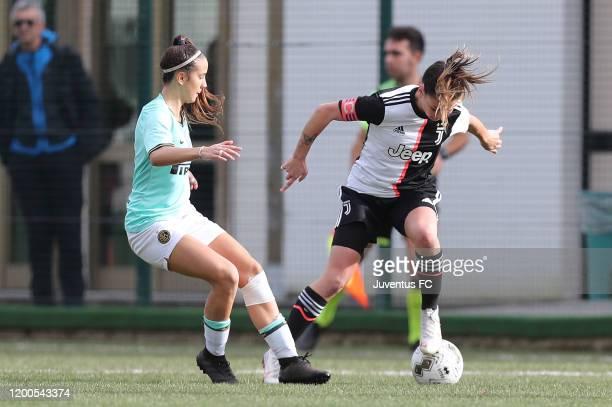 Ludovica Salvioni of Juventus Women U19 in action during the Viareggio Women's Cup match between Juventus U19 and FC Internazionale U19 on February...