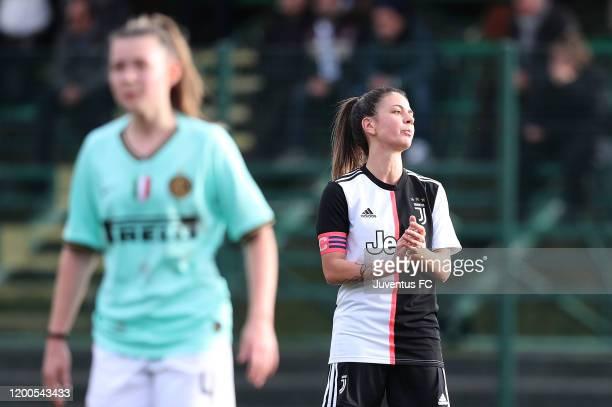 Ludovica Salvioni of Juventus Women U19 reacts during the Viareggio Women's Cup match between Juventus U19 and FC Internazionale U19 on February 13...
