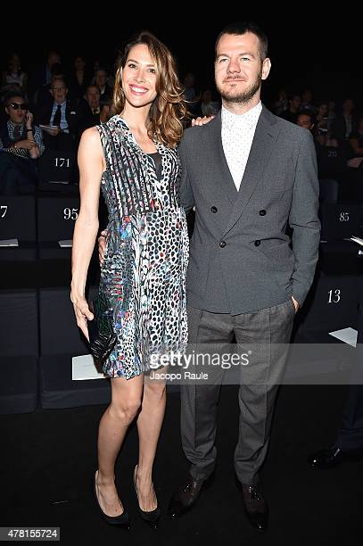 Ludovica Sauer and Alessandro Cattelan attend the Giorgio Armani show during the Milan Men's Fashion Week Spring/Summer 2016 on June 23, 2015 in...