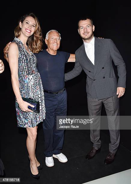 Ludovica Sauer, Giorgio Armani and Alessandro Cattelan attend the Giorgio Armani show during the Milan Men's Fashion Week Spring/Summer 2016 on June...