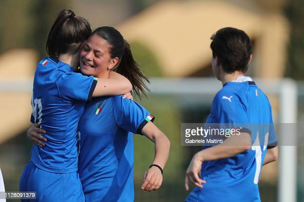 Ludovica Silvioni of Italy U17 Women celebrates after scoring a goal during the friendly match between Italy U17 Women and ACF Fiorentina U17 Women...