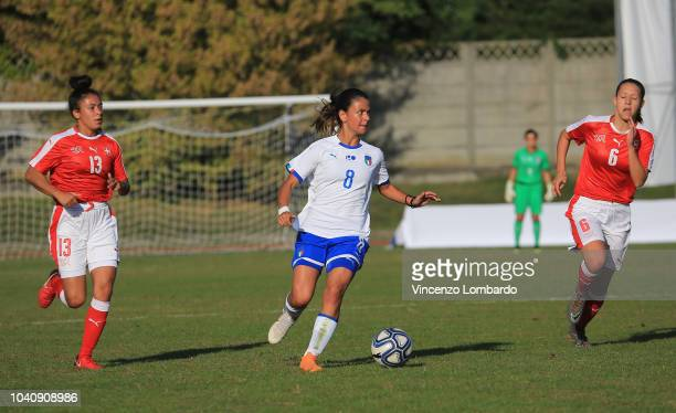 Ludovica Silvioni of Italy Women U17 competes for the ball with Noemi Buhler of Switzerland Women U17 during the International Friendly between Italy...