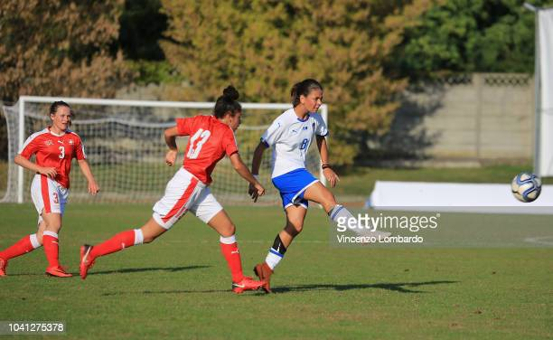 Ludovica Silvioni of Italy Women U17 competes for the ball with Noemi Buhler during the International Friendly between Italy U17 Women and...