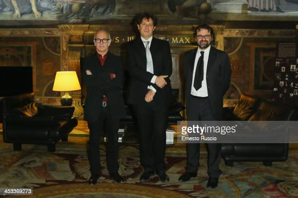 Ludovico Einaudi Oscar Pizzo and Francesco Lotoro attend the Arts and Letters Medal award ceremony at Palazzo Farnese on December 3 2013 in Rome Italy