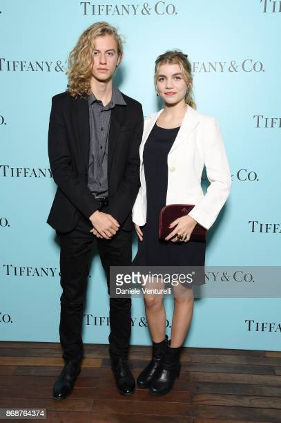 Ludovico Girardello and Galatea Bellugi attend Tiffany Co Gala Dinner for 'Please Stand By' movie at Hotel Bernini on October 31 2017 in Rome Italy