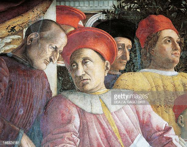 Ludovico Gonzaga and the counselor Marsilio Andreasi detail from the Court Wall 14651474 by Andrea Mantegna fresco San Giorgio Castle Wedding Chamber...