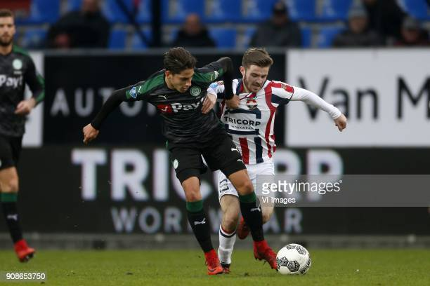 Ludovit Reis of FC Groningen Daniel Crowley of Willem II during the Dutch Eredivisie match between Willem II Tilburg and FC Groningen at Koning...