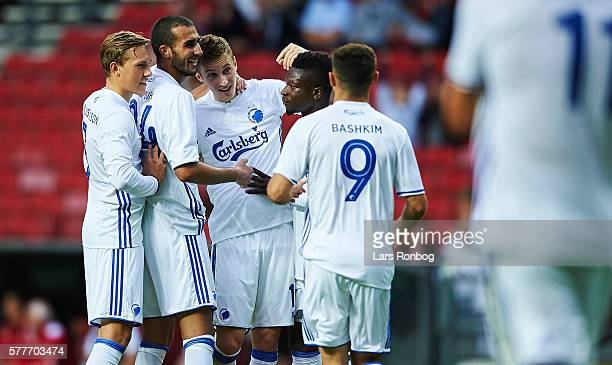 Ludvig Augustinsson Youssef Toutouh Jan Gregus Danny Amankwaa and Baskim Kadrii of FC Copenhagen celebrates after scoring their fifth goal during the...