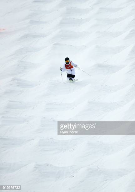 Ludvig Fjallstrom of Sweden competes during the Men's Freestyle Skiing Moguls qualification ahead of the PyeongChang 2018 Winter Olympic Games at...