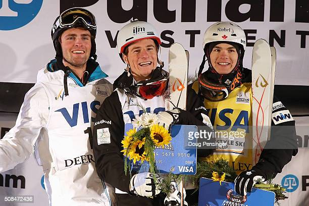 Ludvig Fjallstrom of Sweden in third place Matt Graham of Australia in first place and Mikael Kingsbury of Canada in second place take the podium for...