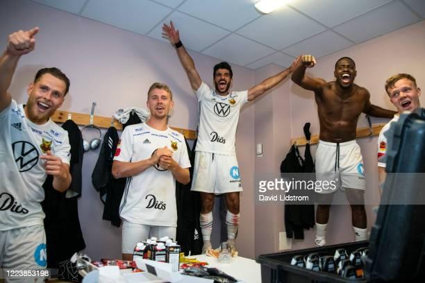 Ludvig Fritzson of Ostersunds FK, Rewan Amin of Ostersunds FK and Isak Ssewankambo of Ostersunds FK celebrates after the Allsvenskan match between...
