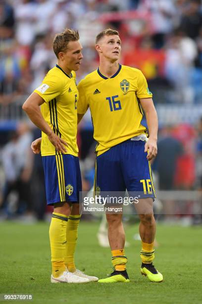 Ludwig Augustinsson and Emil Krafth of Sweden look dejected following their sides defeat in the 2018 FIFA World Cup Russia Quarter Final match...