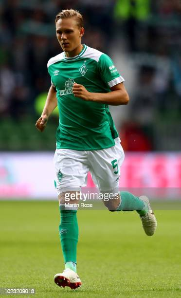 Ludwig Augustinsson of Bremen runs during the Bundesliga match between SV Werder Bremen and Hannover 96 at Weserstadion on August 25 2018 in Bremen...