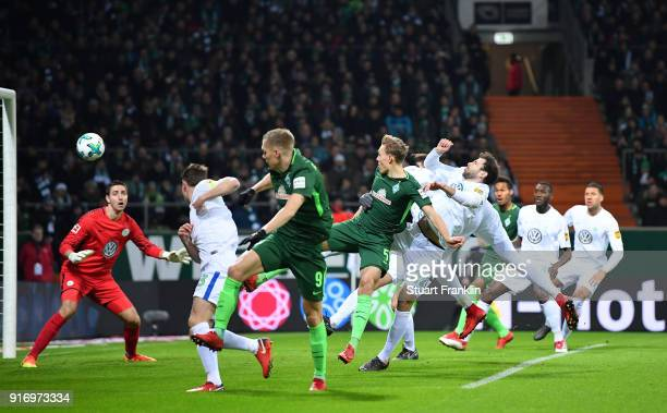 Ludwig Augustinsson of Bremen scores his goal during the Bundesliga match between SV Werder Bremen and VfL Wolfsburg at Weserstadion on February 11...