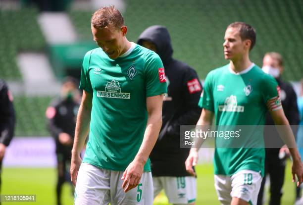 Ludwig Augustinsson of SV Werder Bremen reacts after the Bundesliga match between SV Werder Bremen and VfL Wolfsburg at Wohninvest Weserstadion on...